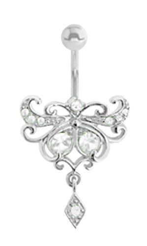 Clear Cz Pretty Unique Filigree dangle Belly button navel Ring piercing bar body jewelry 14g