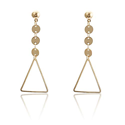 ESCYQ Women Earring Studs Earring Drop Earrings Ear Line Fashion Metal Triangular Shaped Gold Earrings for Women Girls Jewelry Party Earrings