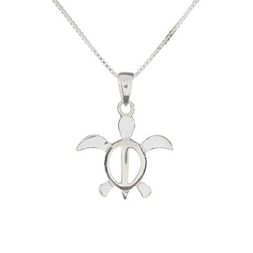 Silver Sea Turtle Necklace - Sterling Silver Honu Pendant Necklace (sterling-silver)