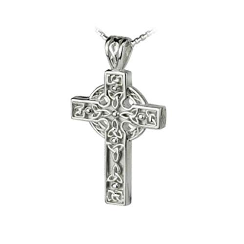 Solvar Trinity Knot Celtic Cross Necklace Sterling Silver Irish Made in Gift Box ()