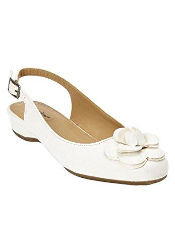 Comfortview Women's Wide Jessa Slingback Flat White,8 1/2 W by Comfortview