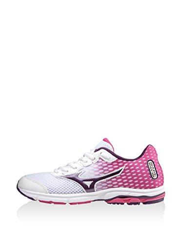 18 Sneaker Wave Chaussure Mizuno nbsp;blanc Violet Rider Fuchsia Fille Running wnZHxqSF