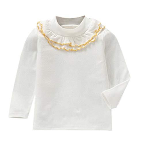 Sunhusing Baby Girls Flower Collar Ruffles T-Shirt Toddler Kids Solid Color Lace Round Neck Long-Sleeve Shirt -