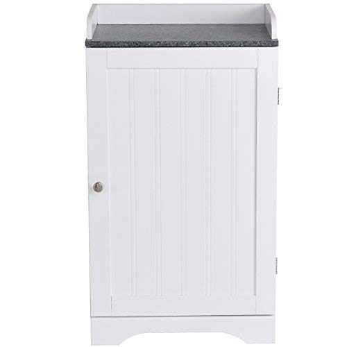 - Tangkula Bathroom Floor Storage Cabinet Freestanding Adjustable Shelves Organizer with Single Door White Finish