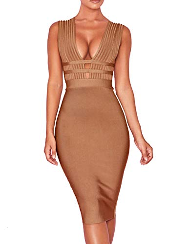 Whoinshop Women 'S Sexy Deep V Plunge Sleeveless Cut Out Bodycon Bandage Cocktial Party Dresses Camel M