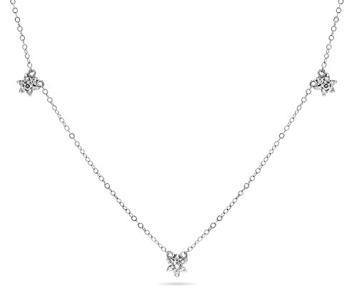1/5 Carat 14k White Gold Diamond Flower Cluster Pendant Necklace, 18 Inch Long