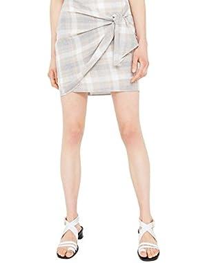 Mango Women's Knot Checked Skirt