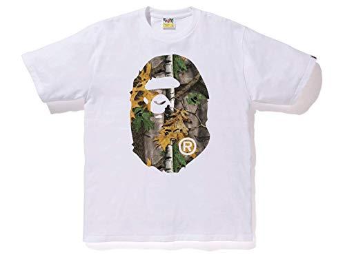 Bape Mens Forest Camo Big Ape Head Tee (White/Orange, Large)