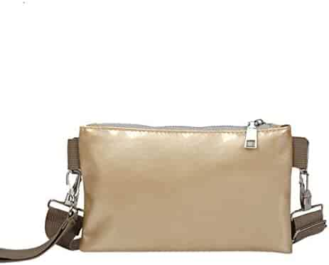 c8f6101ad7 Yihaojia Leather Vintage Zipper Pure Color Messenger Shoulder Bag Chest Bag  for Women (Gold)