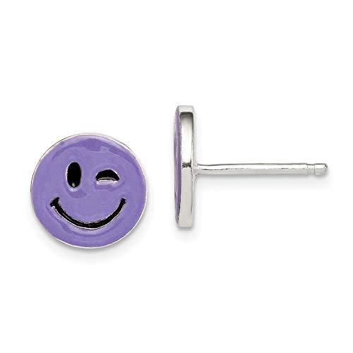 Sterling Silver Purple Enamel Winking Smiley Face Childs Post Earrings Solid 10 mm 10 mm Purple Button Earrings - Smiley Earrings Face Solid