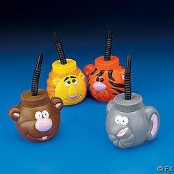 12 Safari Zoo Animal Sipper Cups
