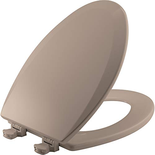 BEMIS 1500EC 068 Toilet Seat with Easy Clean & Change Hinge, ELONGATED, Durable Enameled Wood, Fawn Beige