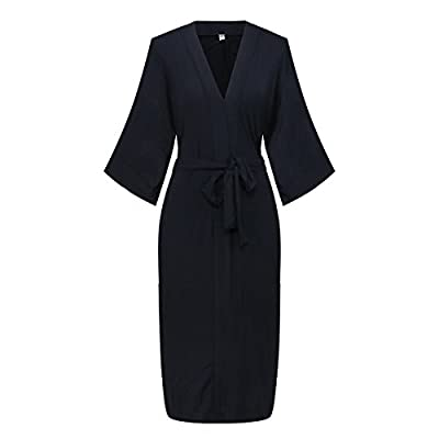 Dandychic Women's Knit Long Kimono Robe Bathrobe Nightgown Pure