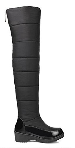 Lined Snow On Easemax Winter Knee Mid Heel Fur Boots Platform Fully Over Pull Women's Stylish Black The Waterproof Warm aSwqxBXS