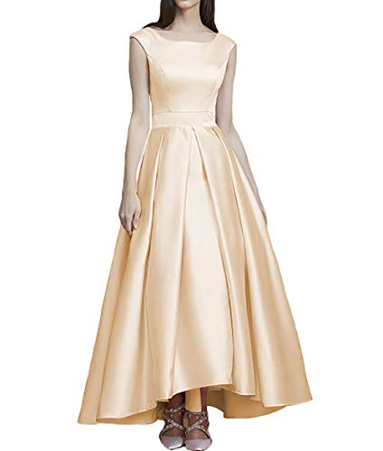 (IVYPRECIOUS Square Neck A Line Tea Length Satin Prom Dresses for Women Size 10 US Champagne)