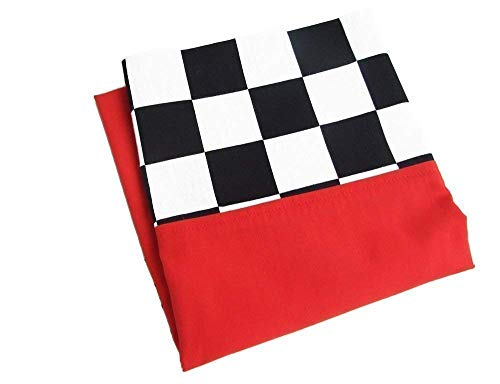 FINISH FLAG Race Car Pillow Case, RED Pillowcase with Checkered Band, Car Lover or Racing Fan -