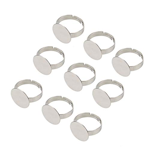 WSSROGY 20 Pack 18mm Adjustable Silver Plated Flat Ring Base Blanks Round Ring Bases for Jewelry ()