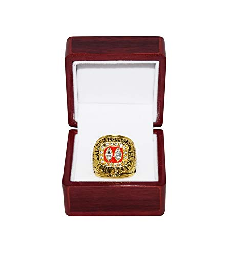 UNIVERSITY OF NEBRASKA CORNHUSKERS (Lawrence Phillips) 1995 NATIONAL CHAMPIONS (Back to Back Champs) Vintage Collectible Replica Gold Football Championship Ring with Cherrywood Display Box