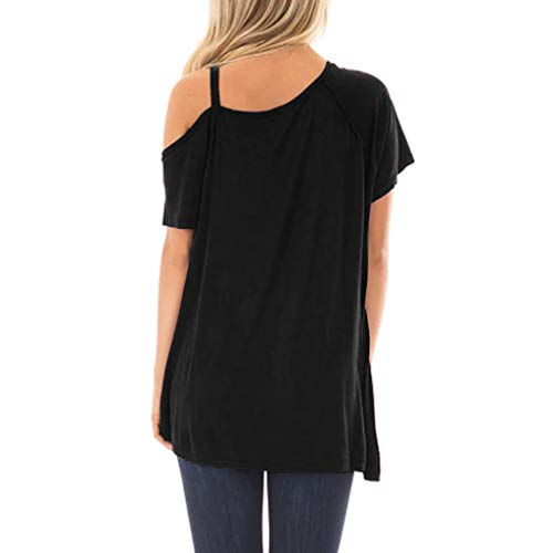 Forthery Women Tops Strappy Cold Shoulder T-Shirt Halter Tops Tunic Blouse(Black,US Size L = Tag XL) by Forthery (Image #1)