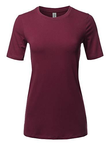 Basic Solid Premium Cotton Short Sleeve Crew Neck T Shirt Tee Dark Burgundy 2XL - Tee Crew Solid Neck