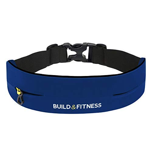 Build & Fitness Running Belt, Adjustable Waist, Comfortable, Slim, Key Clip - Fits Fuel Gel, iPhone 6,7,8plus,X, Samsung S7,S8,S9 - for Men, Women, Runners, Jogging, Gym, Yoga, Workout by Build & Fitness (Image #1)
