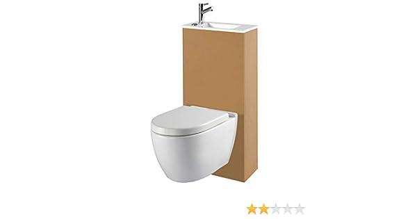 Planetebain Pack WC suspendida Rimless con Lava Manos Integrado: Amazon.es: Hogar