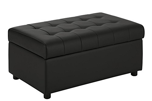 DHP Emily Rectangular Storage Ottoman, Modern Look with Tufted Design, Lightweight, Black Faux Leather