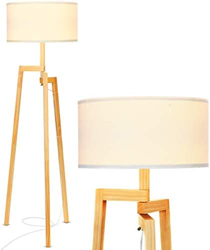 Brightech New Mia LED Tripod Floor Lamp Modern Design Wood Mid Century Modern Light