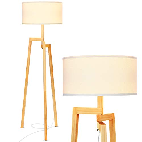 Brightech New Mia LED Tripod Floor Lamp- Modern Design Wood Mid Century Modern Light for Contemporary Living Rooms- Rustic, Tall Standing Lamp for Bedroom, Office- White Shade