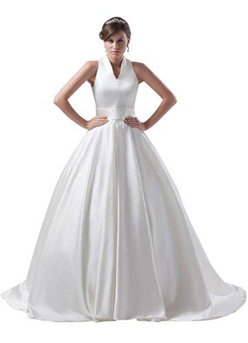 Train Ball Satin Emily Beauty Wedding Neck Dress White V xRwHwng