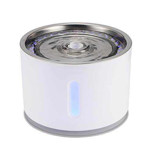 Price comparison product image Houkiper Houkier Water Fountain Replaceable Filtration Automatic Cat Dog Water Fountain Mute Activated Carbon 2.4L Water Fountain Stainless Steel Top Cover with USB Cable