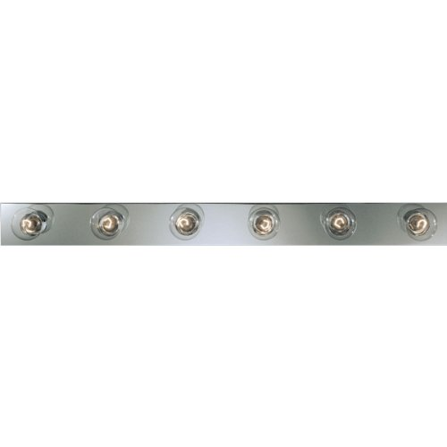 Broadway 6 Light Vanity Fixture (Progress Lighting P3117-15 Basic Broadway Lighting Strips That Use Fewer Lamps on 7-1/2 Inch Centers and UL Listed For Ceiling Mounting with 25 Watt Lamps, Polished Chrome)