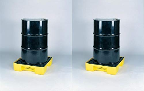 Eagle 1633 Yellow and Black Polyethylene Single Drum Modular Spill Platform with Grating, 2000 lbs Load Capacity, 26