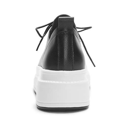 Annieshoe Talon Plateforme Femme Compensées Lacets Cuir Confortable Derbies Noir SrS7qT4