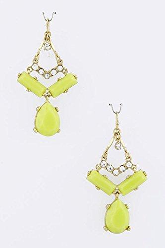 Trifari Triangle Earrings (TRENDY FASHION JEWELRY DEW JEWEL TRIANGLE DANGLE EARRINGS BY FASHION DESTINATION | (Lime))