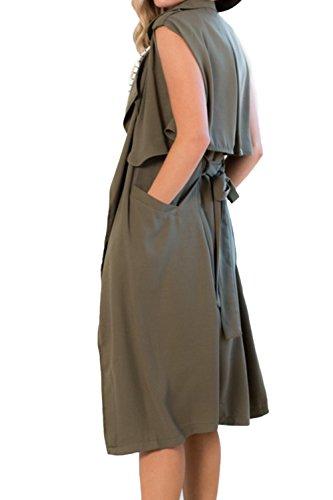 Outcoat suelta Trenchcoat chaleco de mujer Casual Midi frente abierto con correa