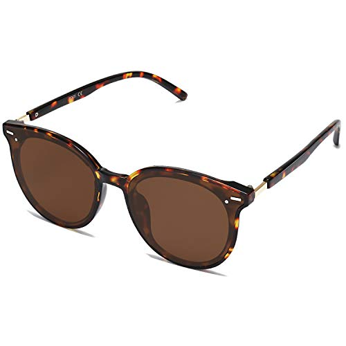 SOJOS Classic Round Retro Plastic Frame Vintage Inspired Sunglasses BLOSSOM SJ2067 with Tortoise Frame/Gradient Brown Lens