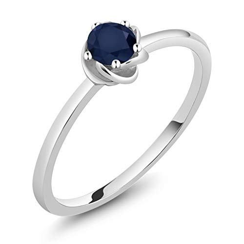 Gem Stone King 10K White Gold Blue Sapphire Gemstone Birthstone Solitaire Engagement Ring 0.24 Ct 3.5mm Round (Size 7)