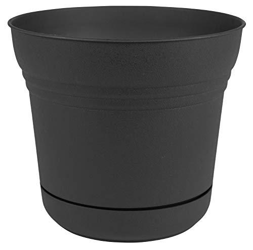 Bloem Saturn Planter with Saucer, 12″, Black (SP1200)
