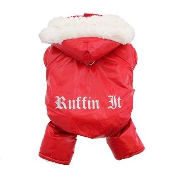 - DOGGIE DESIGN Red Ruffin It Dog Snow Suit Harness (Small)