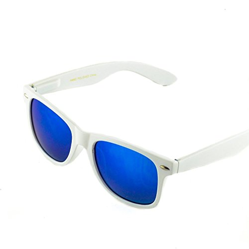 Unisex Reflective Mirror Lens Retro Vintage Classic Style Retro Classic Sunglasses (White/Blue-Mirrored, - Lenses Sunglasses Blue With White