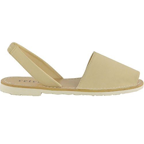 Fashion Thirsty Womens Summer Menorcan Peep Toe Sandals Beach Mules Sliders Flat Shoes Size Nude Nubuck KIL7Pae
