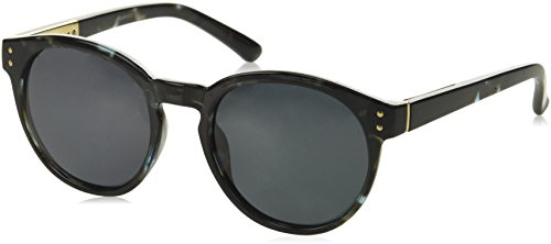 Foster Grant Women's 24244 Gray Polarized Round Sunglasses, Black, 51 ()