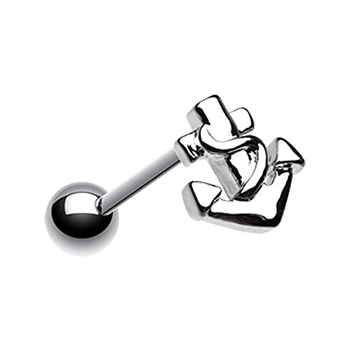 14 GA Classic Anchor Steel Barbell 316L Surgical Stainless Steel Body Piercing Jewelry For Women and Men Davana Enterprises