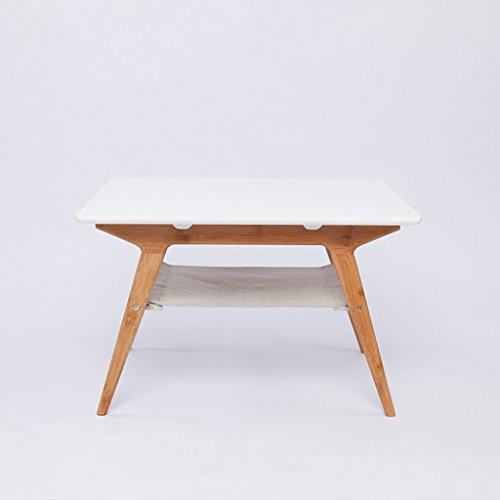 Mesa de centro de mesa/Mesa cuadrada blanca/Mesa de bambú L66cm * W66cm * H42cm