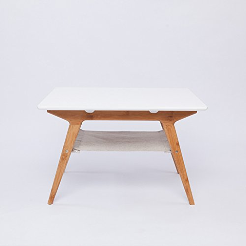 GFL Mesa de centro de mesa/Mesa cuadrada blanca/Mesa de bambú L66cm * W66cm * H42cm Accesorios para Laptop