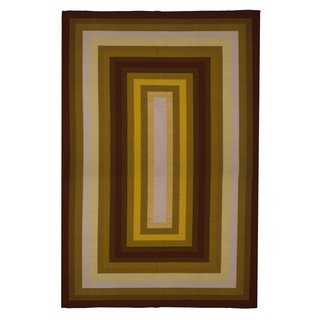 New Contemporary Area Rug 5 Feet X 8 Gold Yellow Brown