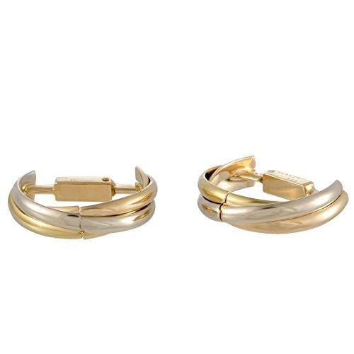 Luxury Bazaar Cartier Trinity 18K Tri-Gold Semicircle Cufflinks (Circle Cufflinks Gold)