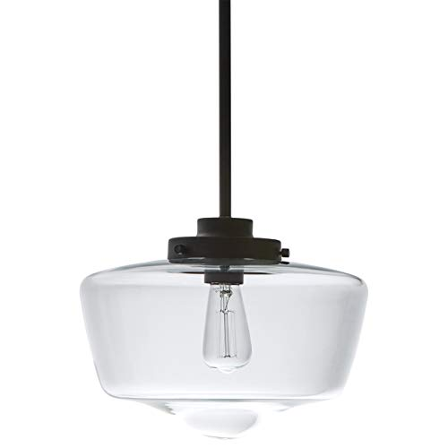 Stone & Beam Schoolhouse Ceiling Pendant Fixture With Light Bulb And Clear Glass Shade - 11 x 11 x 18 Inches, 6 - 48 Inch Cord, Matte Black