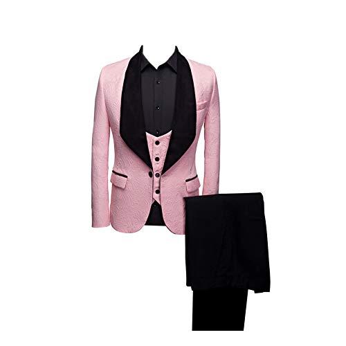 Btaidi Shawl Lapel Man Suit Groom Wedding Men's Blazer Groomsmen Suits 3 Pieces Jacket Vest Pants Tie Pink